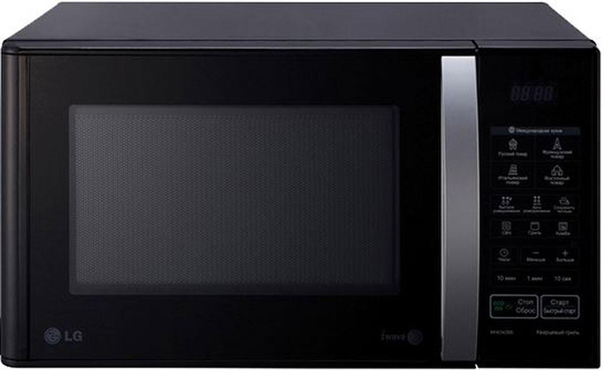 LG MH6342BB СВЧ-печьMH-6342BBСтрогий классический дизайн микроволновой печи LG MH6342BB позволит ей органично влиться в общий дизайн вашей кухни, а большое количество полезных функций, таких как автоматическое приготовление и автоматическое размораживание, сделает ее незаменимой помощницей в приготовлении вкусных блюд. Автопрограммы приготовления Международная кухня 32 уникальные программы, позволяющие легко и без усилий приготовить блюда по традиционным рецептам французской, итальянской, восточной и русской кухни. Достаточно лишь заложить необходимые продукты в камеру и выбрать подходящее меню, а печь сама установит оптимальный режим приготовления блюда для придания ему насыщенного и неповторимого вкуса. Кварцевый гриль Кварцевый гриль более равномерно пропекает блюдо по сравнению с обычным тэновым грилем, придавая блюду хрустящую золотистую корочку. Легкоочищаемое покрытие LG EasyСlean Специальное легкоочищаемое покрытие LG EasyСlean внутренней камеры...