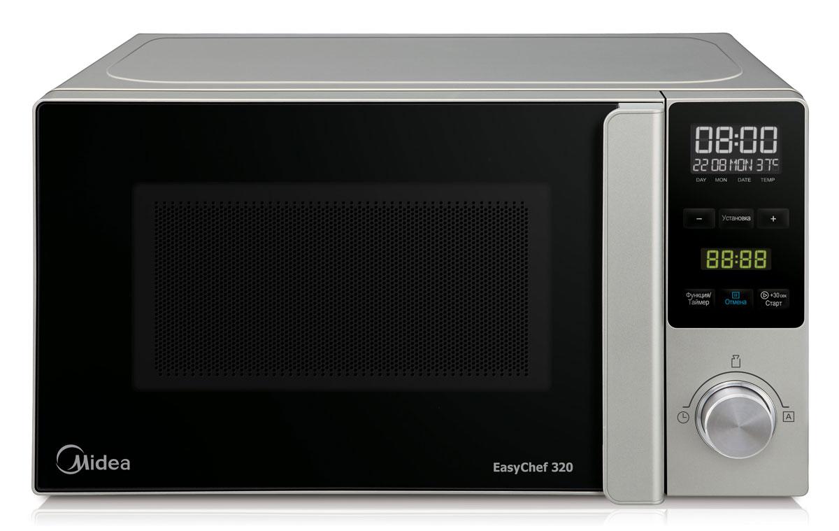 Midea AM720C3P-C микроволновая печьNN-SD382SZPEСтильная и функциональная микроволновая печь соло Midea AM720C3P-C объемом 20 литров гармонично впишется в интерьер любой современной кухни. Печь идеально подходит для быстрого и качественного приготовления свежих и замороженных овощей и фруктов, супов, каш, макаронных изделий и риса, мяса и рыбы, а также бережного и эффективного размораживания продуктов и разогрева готовых блюд. Камера печи покрыта инновационной разработкой компании Midea - эмалью легкой очистки Smart Clean (Смарт Клин), которая состоит из специального жаропрочного материала, не пропускающего внутрь запекшийся жир и остатки пищи. Поэтому очищать печь можно значительно быстрее и легче! Модель оснащена 43 режимами автоприготовления, позволяющими вам готовить любимые блюда, просто выбрав тип продуктов и введя их вес. Функция размораживания предназначена для разморозки продуктов согласно их массе - время и уровень мощности корректируются автоматически, как только вы выберете категорию продукта и введете его вес. Также...
