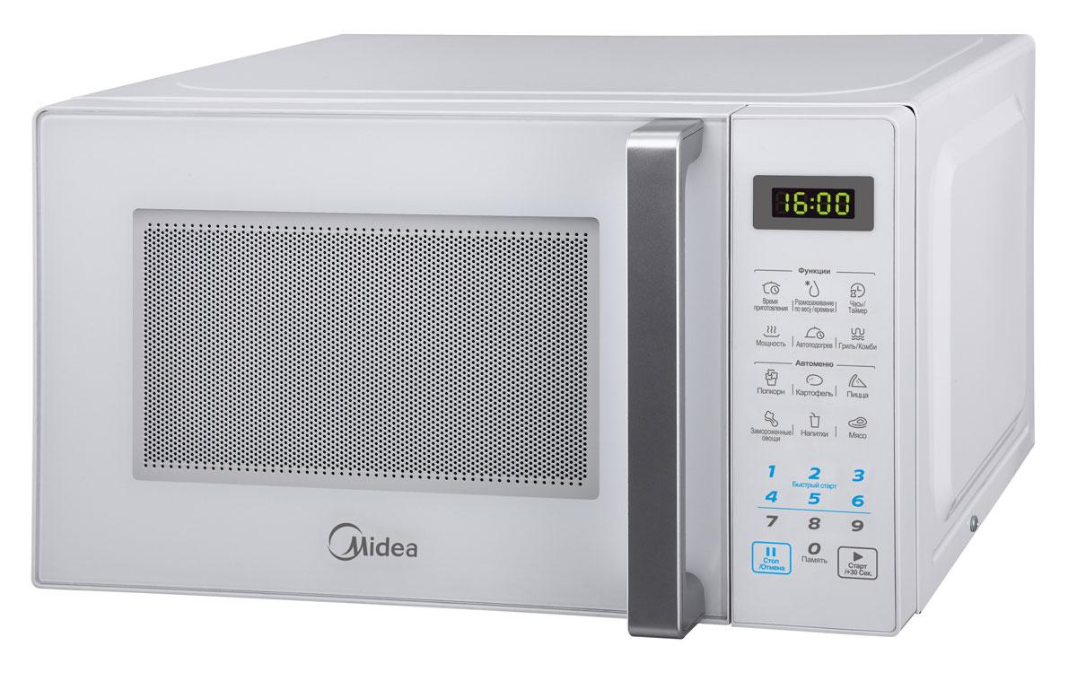 Midea EG820CXX-W микроволновая печьGE-81MRTBКомпактная и надежная микроволновая печь объемом 20 литров сочетает в себе стильный дизайн, высокое качество и интуитивно понятное электронное управление, благодаря чему вы сможете быстро и просто разогреть и приготовить различные блюда. С функцией автоматического размораживания вам не придется подсчитывать необходимое количество времени и мощность для размораживания того или иного продукта, достаточно выбрать специальную программу. Функция автоматического разогрева избавит вас от необходимости делать расчеты, достаточно лишь указать тип продукта и его объем, а микроволновая печь самостоятельно определит необходимую мощность. Кроме того, в этой модели имеются 6 функций автоматического приготовления, в которых наиболее популярные блюда запрограммированы, и достаточно лишь выбрать необходимое блюдо и печь сама установит режим. Со встроенным грилем вы сможете готовить аппетитные блюда с хрустящей корочкой. Камера печи покрыта инновационной разработкой компании Midea - эмалью легкой...