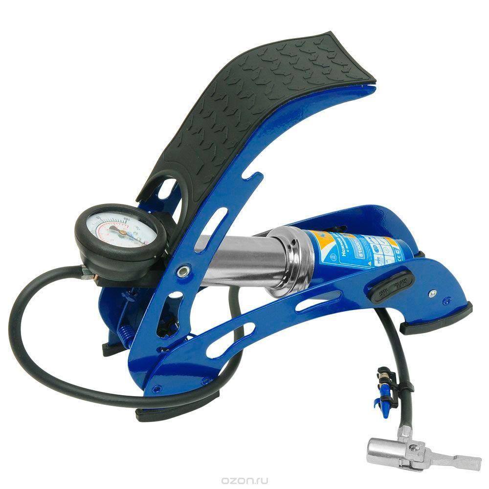 Насос ножной с манометром Kraft(1 цилиндр) с супер-сумкой. КТ 810001