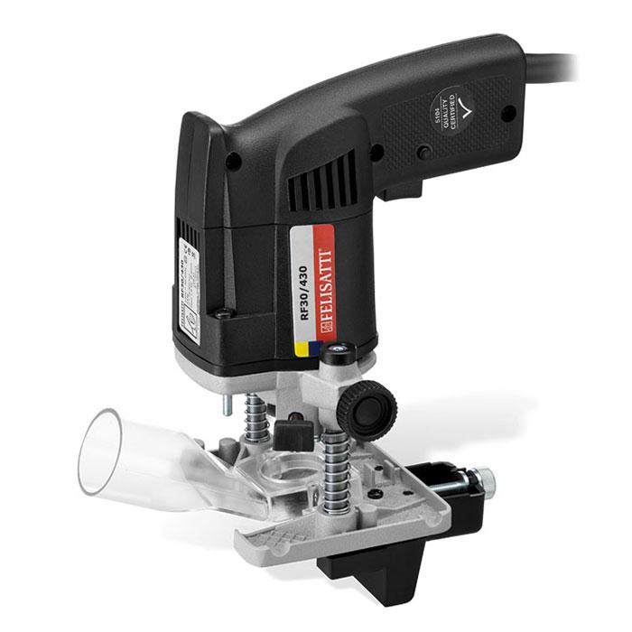 Felisatti RF30/430 фрезерRF30/430Felisatti RF30/430 - профессиональный кромочно-петлевой фрезер с удобной рукояткой, позволяющей удерживать инструмент одной рукой. Устройство оснащено специализированным параллельным упором, благодаря которому можно выполнять операцию фрезерования после финишной отделки поверхности, не боясь поцарапать обрабатываемую деталь, а также специальным лифтом для регулировки глубины погружения фрезы точно на толщину дверной петли. Конструкция адаптирована для фрез с хвостовиком 6 мм, но при необходимости перенастраивается под хвостовик на 8 мм.