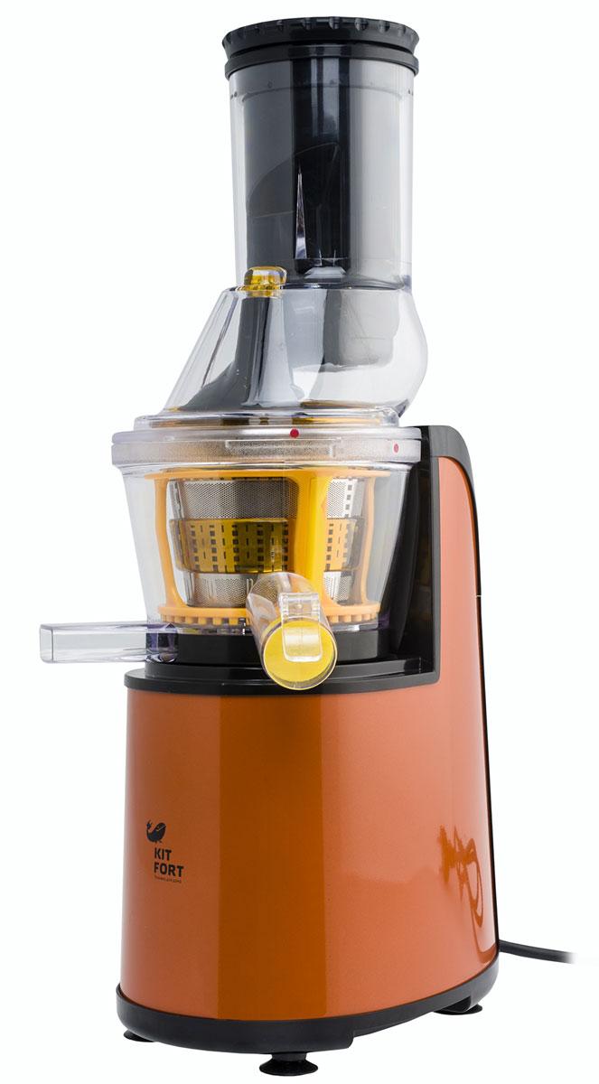 Kitfort KT-1102-1, Orange шнековая соковыжималкаKT-1102-1 оранжевыйШнековая соковыжималка Kitfort КТ-1102 позволяет отжимать максимально возможное количество сока из фруктов, овощей и зелени с сохранением всех его полезных компонентов: витаминов, аминокислот и минералов. Сок во время отжима не нагревается и не окисляется. Соковыжималка легко собирается и просто моется после работы. Модель Kitfort КТ-1102 оснащена широкой подающей горловиной и шнеком специальной формы, что позволяет загружать многие фрукты, например яблоки, целиком, не разрезая их предварительно на части. Шнековая соковыжималка Kitfort КТ-1102 позволяет отжимать максимально возможное количество сока из фруктов, овощей и зелени с сохранением всех его полезных компонентов: витаминов, аминокислот и минералов. Сок во время отжима не нагревается и не окисляется. Соковыжималка легко собирается и просто моется после работы.