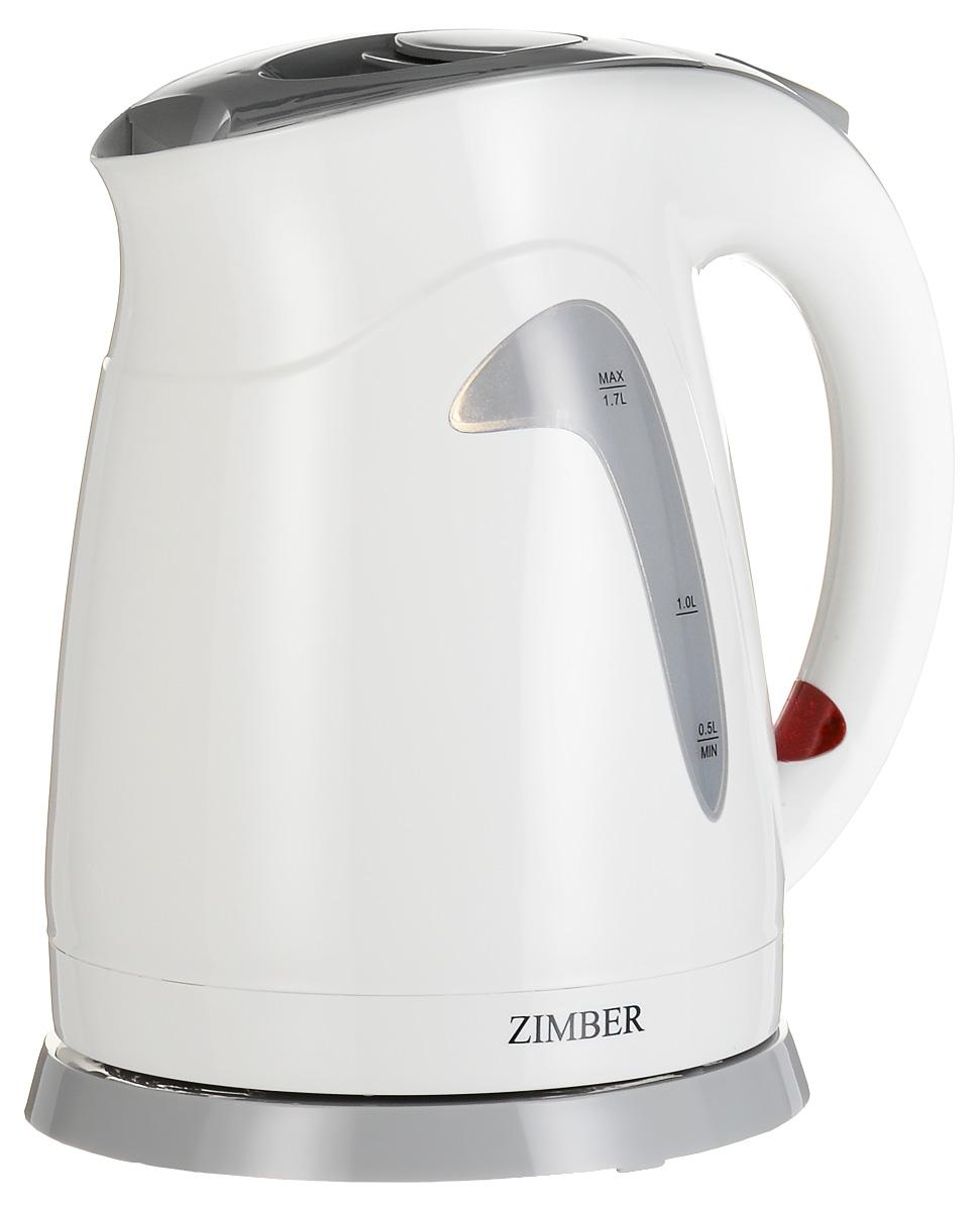 Zimber ZM-10669, White Grey электрический чайникZM-10669Zimber ZM-10669 - стильный электрический чайник емкостью 1,7 л с возможностью вращения на 360 градусов. Корпус модели выполнен из надежного термостойкого пластика. Скрытый нагревательный элемент изготовлен из нержавеющей стали. Для удобного и безопасного использования чайник обладает системой защиты от кипячения без воды, функцией автоматического отключения, а также съемный моющимся фильтром и индикатором включения.