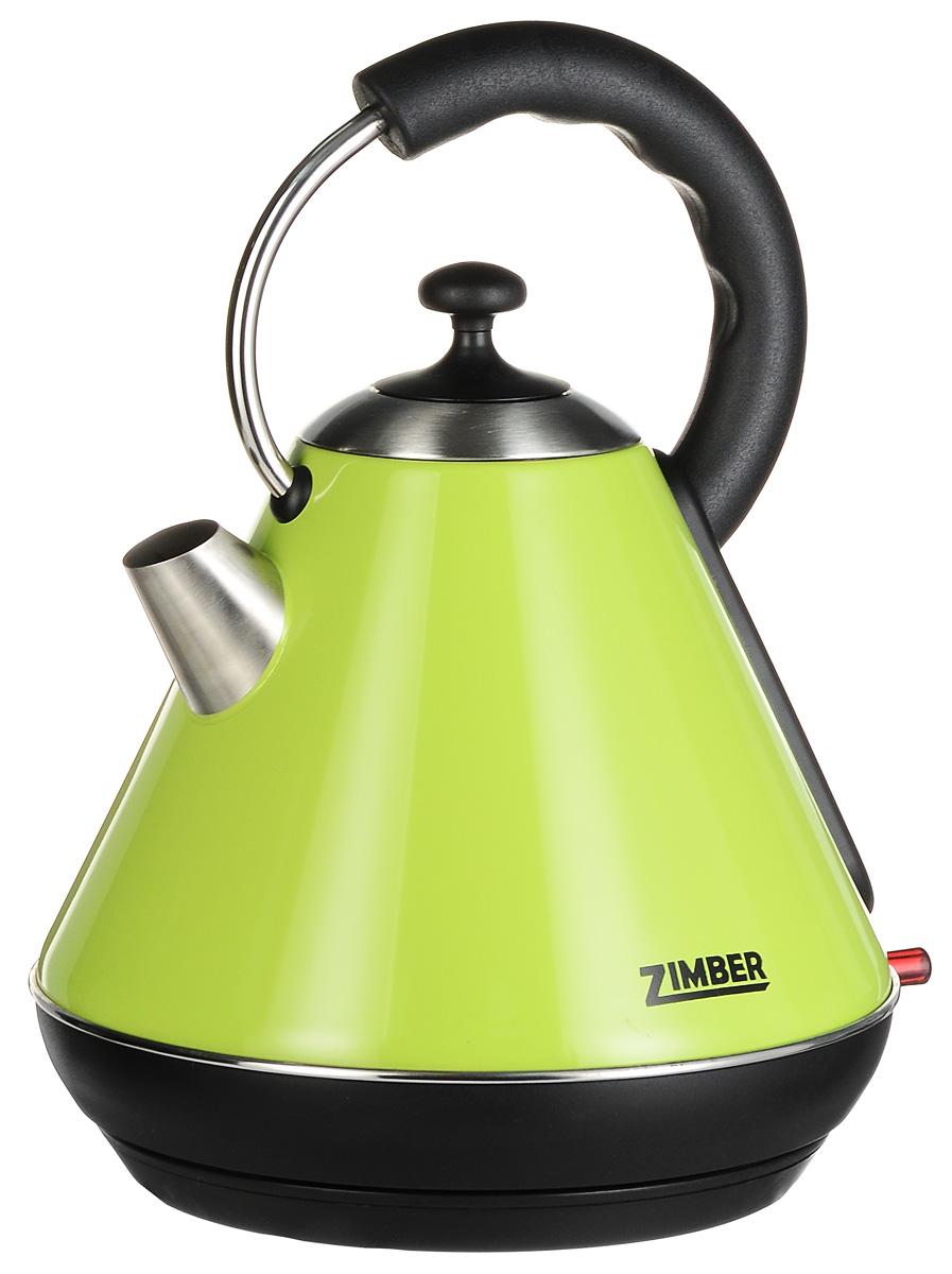 Zimber ZM-10769, Green электрический чайникZM-10769Zimber ZM-10769 - надежный электрический чайник емкостью 1,8 л. Корпус модели выполнен из нержавеющей стали высокого качества, что обеспечивает его устойчивость к коррозии. Скрытый нагревательный элемент также изготовлен из нержавеющей стали. Для удобного и безопасного использования чайник обладает системой защиты от кипячения без воды, функцией автоматического отключения, а также эргономичной ручкой и крупным носиком.