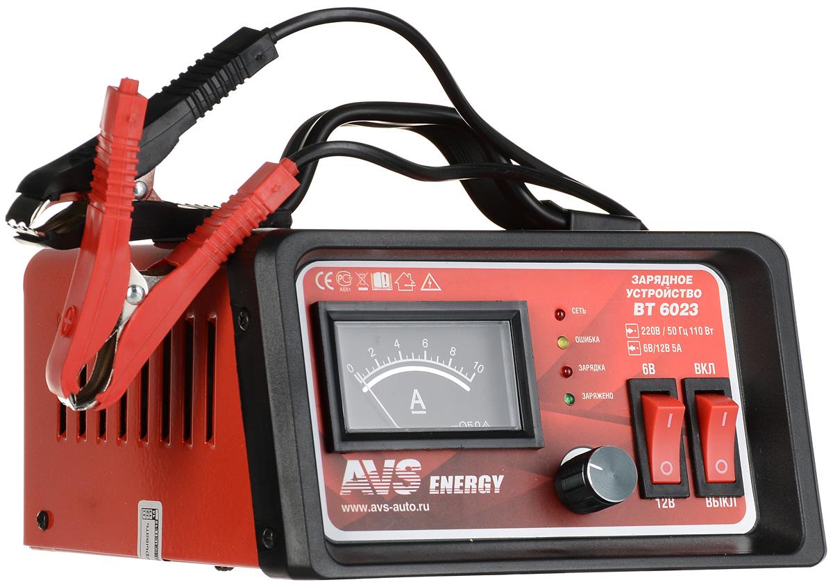 Зарядное устройство для автомобильного аккумулятора AVS BT-6023 (5A) 6/12VA80908SЗарядное устройство для автомобильного аккумулятора AVS BT-6023 поможет решить актуальную проблему разрядки аккумуляторов в холодные сезоны, в результате которой автомобиль плохо заводится. Данная модель предназначена для заряда 6 и 12-вольтовых свинцово-кислотных аккумуляторных батарей. Используется для зарядки аккумуляторов как автомобилей, так и других транспортных средств, например мотоциклов, картов, или катеров. Высокочастотная технология преобразования мощности производит процесс заряда в 2-3 раза быстрее, чем традиционные зарядные устройства. Ток зарядки: 0-5 А Емкость заряжаемого аккумулятора: 5–50 Ач Защита от неправильной полярности Защита от короткого замыкания Тип предохранителя: 3,15 А