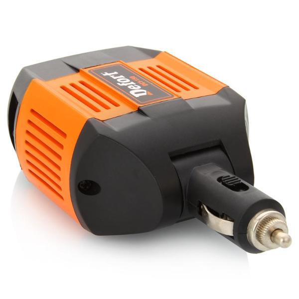 Инвертор автомобильный Defort DCI-15098299564Входное напряжение 12 В Выходное напряжение 230 В - 50 Гц Выходная мощность 150 Вт Предохранитель 20 А USB-выход