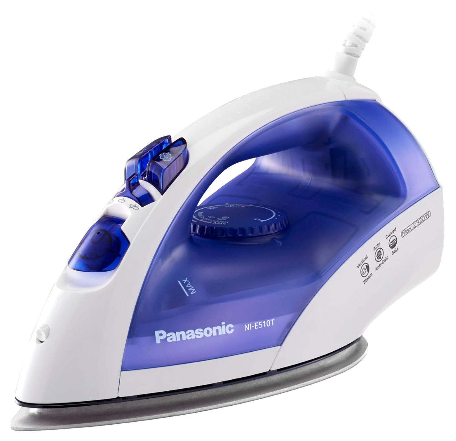 Panasonic NI-E510TDTW утюгNI-E510TDTWPanasonic NI-E510TDTW Утюг 2380Вт,сферич.под.Round-Ride,п/у 84г/мин,п/п до 25 г/мин,в/п,защита от накипи CalcCut