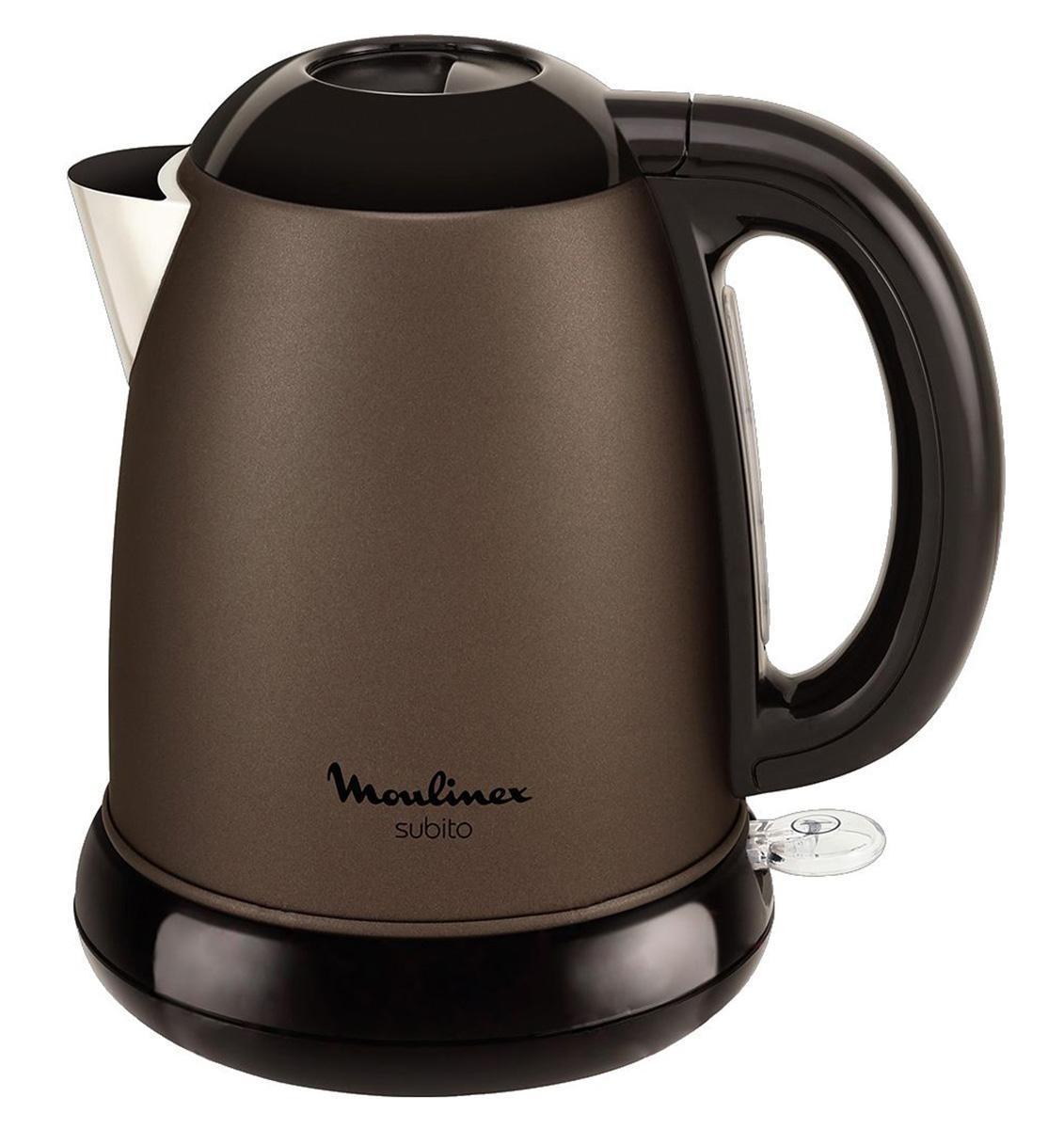 Moulinex BY540930 Subito III электрический чайникBY540930Электрочайник объемом 1.7 л, с применением технологии скрытого нагревательного элемента. Мощность прибора - 2400 Вт, синтетический фильтр от накипи, индикация включения, отключение при отсутствии воды. Устройство отличается элегантным шоколадно-коричневым корпусом с элементами черного цвета.