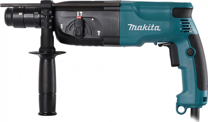 Перфоратор Makita HR2450HR 2450Производитель ручного инструмента Makita для использования как в быту, так и на производстве. Перфоратор предназначен для создания отверстий в металле, в дереве и других твердых материалах. В режиме «сверление с ударом» или «долбление» инструмент способен продолбить отверстие в бетоне, кирпиче, керамике. А если переключиться в режим «завинчивание» инструмент превращается в обычный шуруповерт, которым можно вкручивать саморезы. При относительно не сложных видах работ, а также при эксплуатации инструмента на высоте вам необходим сравнительно легкий и производительный перфоратор. Именно таким является от производителя Makita. Весом 2.4 кг, он снабжен мощным двигателем 780 Вт и длинным сетевым кабелем 2.4 м. Модель имеет функцию удара с энергией 2.7 Дж, частотой 4500 уд/мин., что делает его отличным «убийцей» бетона и кирпича. Самым популярным режимом большинства перфораторов является режим «сверления с ударом», при котором рабочая оснастка...