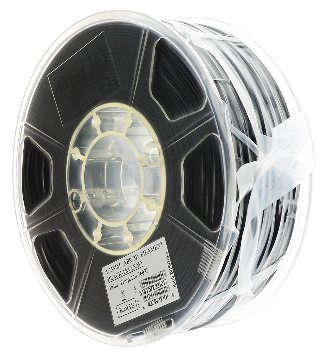 ESUN пластик ABS в катушке, Black, 1,75 ммABS175B1ESUN ABS175B1 - катушка ABS-пластика черного цвета для 3D печати. Толщина пластика составляет 1,75 мм.