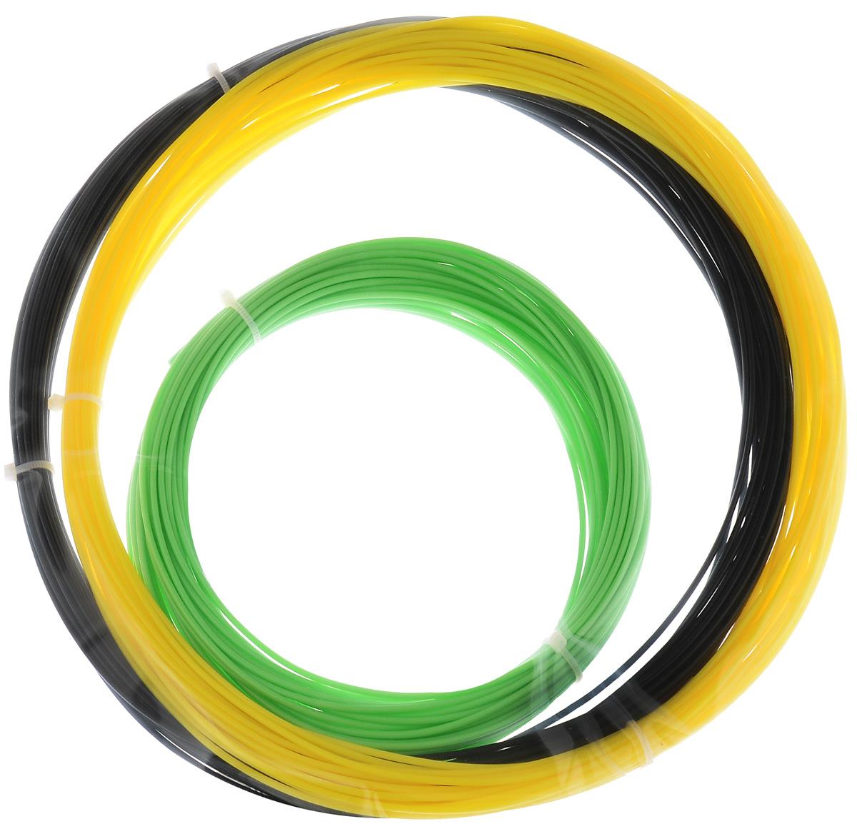 ESUN 3D Filament, Black Yellow Light Green комплект ABS-пластика, 10 мУТ000006725ESUN 3D Filament - комплект ABS-пластика для 3D печати, состоящий из трех цветов. Толщина пластика составляет 1,75 мм. Длина каждого мотка - 10 метров.