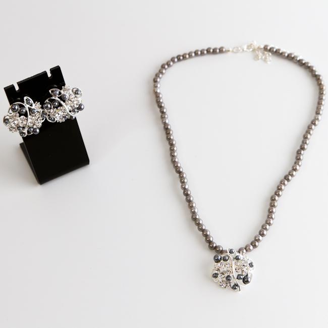 Комплект украшений Fashion House, цвет: серебряный, белый, серый. FH28278 ( FH28278 )