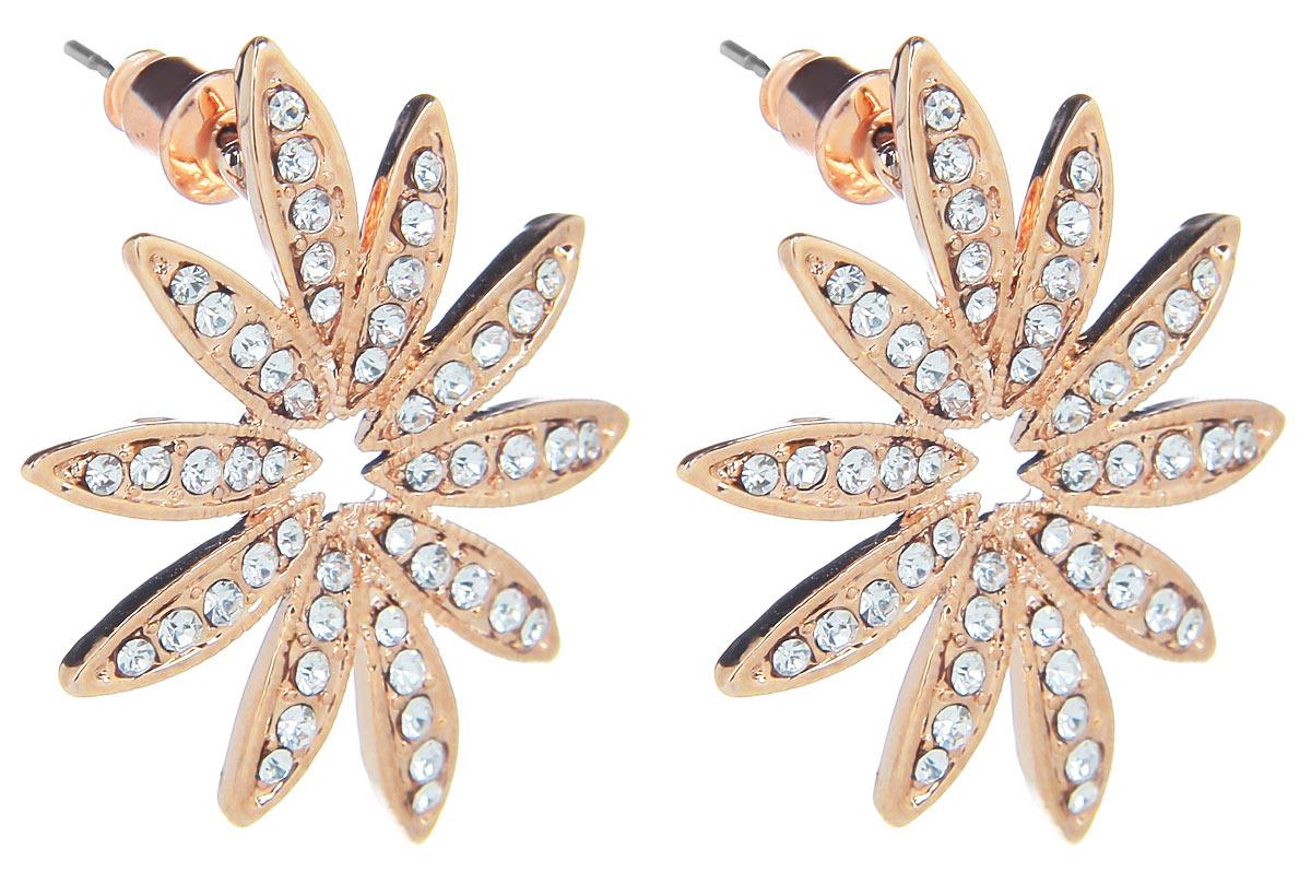 Серьги Fashion House, цвет: золотой. FH32074FH32074Оригинальные серьги Fashion House, выполненные из металла с золотистым покрытием в виде цветка-звезды, оформлены стразами. Серьги застегиваются на стоплер. Изящные серьги придадут вашему образу изюминку, подчеркнут красоту и изящество вечернего платья или преобразят повседневный наряд. Такие серьги позволит вам с легкостью воплотить самую смелую фантазию и создать собственный, неповторимый образ.