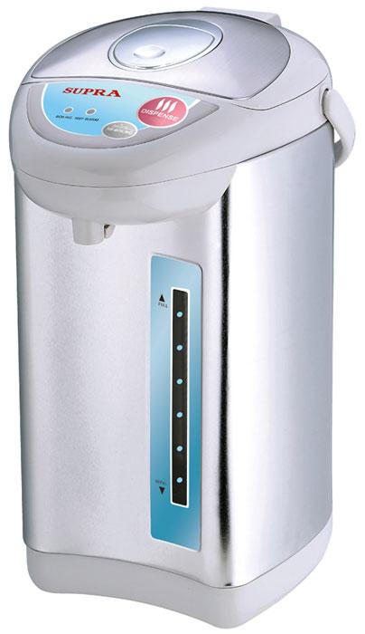 Supra TPS-3002 термопотTPS-3002Пока еще редкие чайники оборудованы терморегулятором. Да и держат температуру воды они минут 30, не больше. Другое дело - термопот - такой, как SUPRA TPS-3002. С ним горячая вода (80-85 °С) всегда будет в доступе. Это особенно удобно, когда в семье есть маленькие дети. По мощности такие приборы, конечно, уступают чайникам, но наш герой - приятное исключение. Полный объем - 3.8 литра воды - он вскипятит за 20 минут. Есть режим повторного кипячения: здесь вам придется ждать минуты три, не больше. Внутренняя камера прибора сделана из нержавеющей стали, так что на качество воды вы жаловаться не будете. Тем более что устройство оборудовано фильтром для задержания накипи.