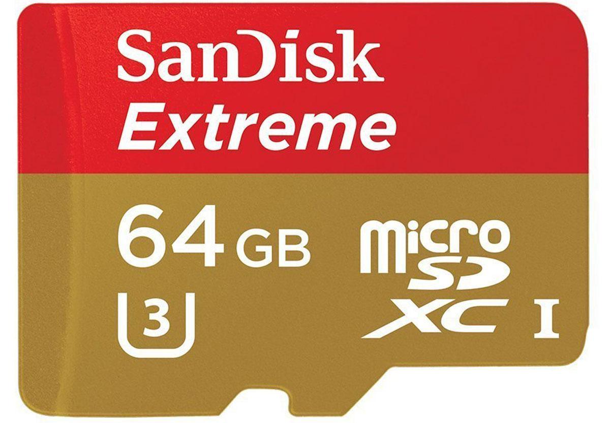 SanDisk Extreme microSDXC Class 10 UHS-I U3 64GB карта памяти (с адаптером)