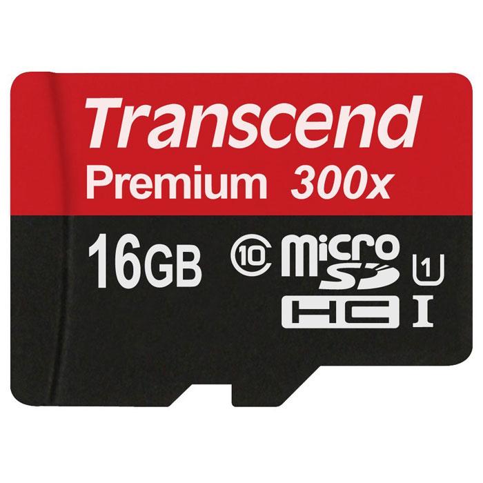 Transcend Premium microSDHC Class 10 UHS-I 300x 16GB карта памяти (без адаптера)
