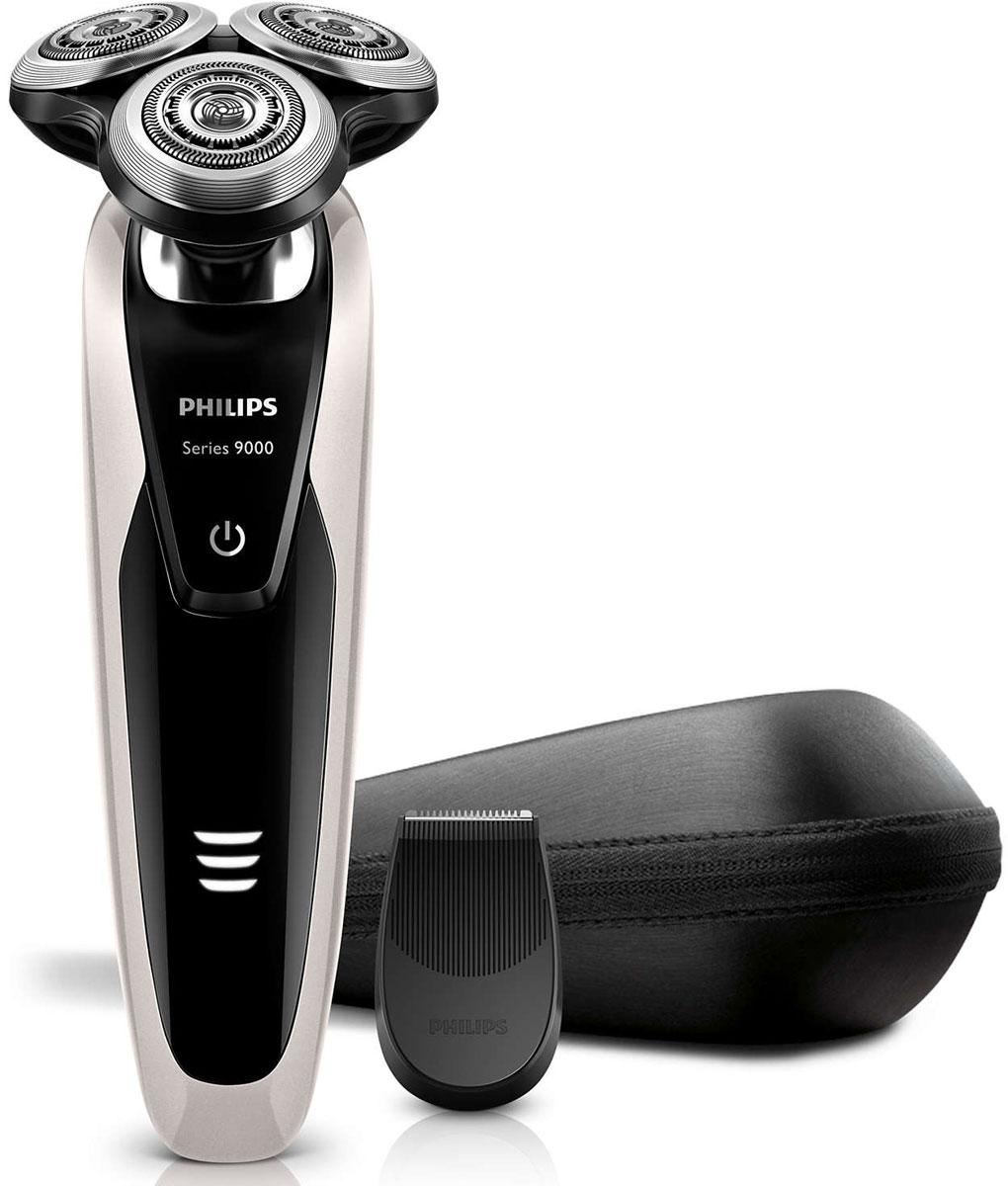 Philips S9041/12 электробритваS9041/12Philips S 9041/12 — наиболее совершенная бритва Philips на сегодняшний день. Уникальная технология повторения контуров гарантирует идеальное скольжение, а система лезвий V-Track обеспечивает более удобный захват волосков и максимально чистое бритье. Запатентованные лезвия V-Track Precision аккуратно захватывают и направляют волоски любой длины, а также волоски, прилегающие к коже. Обеспечивает на 30 % более гладкое и быстрое бритье, чтобы ваша кожа всегда выглядела безупречно. Новые гибкие головки вращаются в 8 направлениях, максимально точно повторяя контуры лица и требуя меньше усилий при каждом движении. Головки, двигающиеся независимо от бритвенного элемента, захватывают на 20 % больше волосков и обеспечивают более чистое бритье при меньшем количестве движений. Встроенная система двойных лезвий электрической бритвы Philips S 9041/12 приподнимает волоски, сбривая их максимально близко к поверхности кожи, что обеспечивает более чистое бритье. Уплотнение...