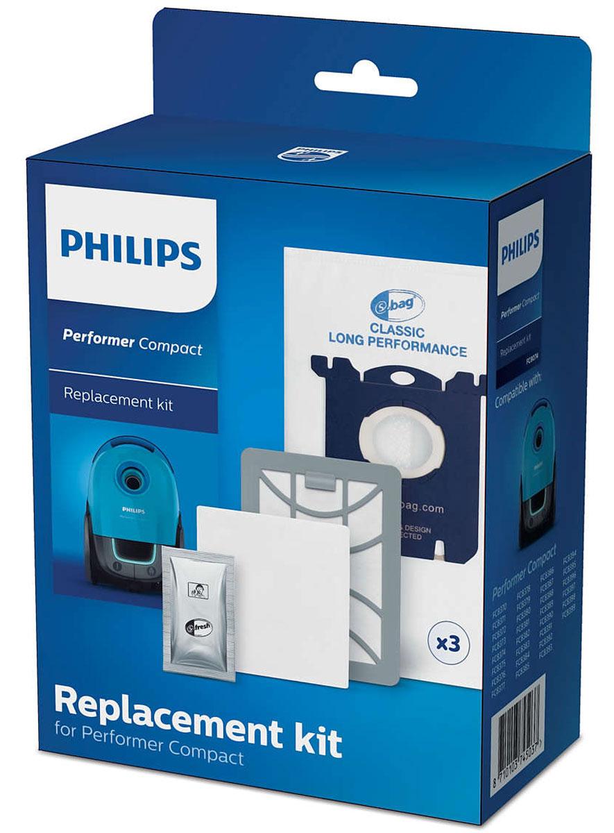 Philips FC8074/01 комплект аксессуаров для FC8370/FC8399FC8074/01Оригинальный комплект фильтров для замены Philips FC 8074/01 состоит из 3 мешков для сбор пыли (s-bag), 1 ароматизатора (s-fresh), 1 фильтра для мотора и 1 выходного фильтра Super Clean Air. Оригинальные мешки S-bag для сбора пыли были разработаны специально для долгосрочного эффективного использования пылесоса, высокой производительности и эффективной фильтрации воздуха до максимального наполнения пылесборника. Воздушный фильтр высокой очистки захватывает мелкие частицы домашней пыли, обеспечивая чистоту окружающего воздуха. В комплект входит 1 впускной фильтр для мотора, который предотвращает его повреждение и 1 выходной фильтр, обеспечивающий чистоту выходящего из пылесоса воздуха. Фильтры рекомендуется менять один раз в год. Освежитель воздуха s-fresh с запахом лимона может быть добавлен в пылесборник.