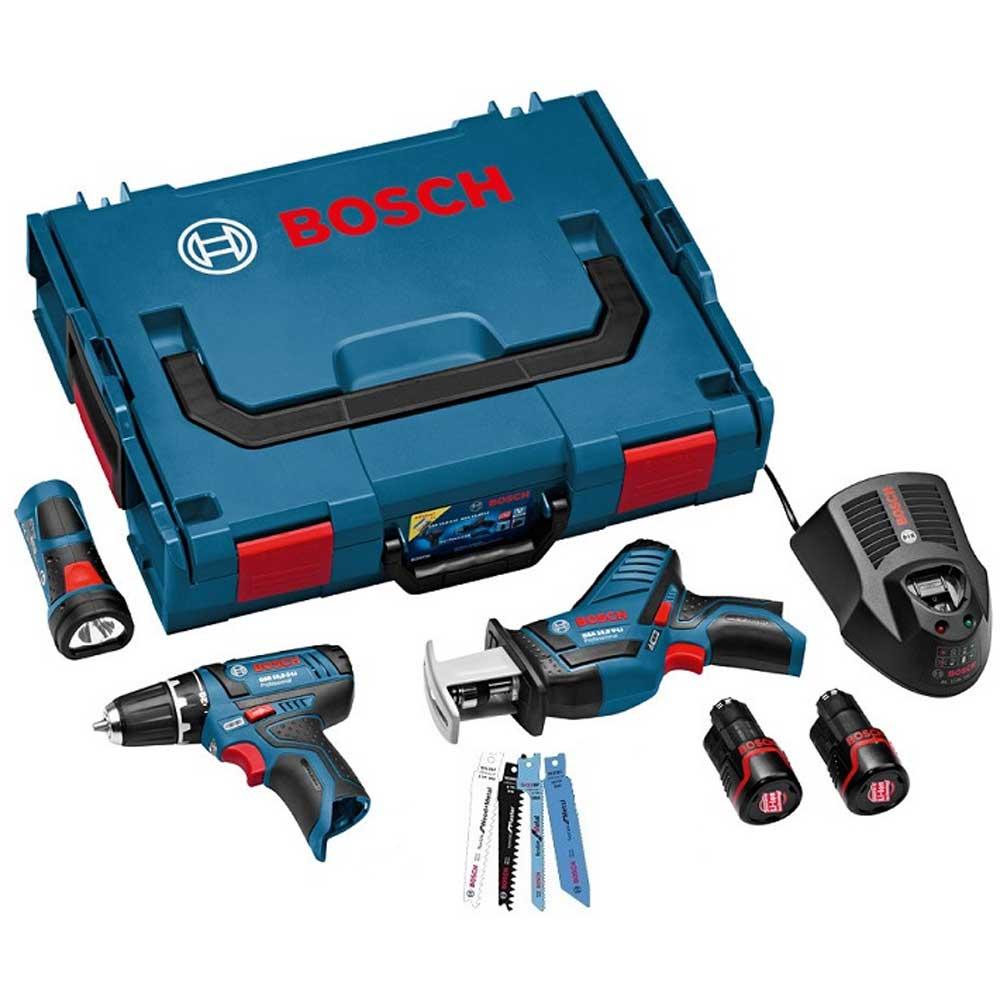 Набор аккумуляторных инструментов 3-в-1 Bosch Professional G02 0615990G020615990G02Набор аккумуляторных инструментов 3-в-1 Bosch Professional G02 включает шуруповёрт GSR 10,8-2-LI Professional, сабельная пила GSA 10,8 V-LI Professional и фонарь GLI PowerLED Professional. Так же в наборе есть 2 пильных полотна S522EF, 2 полотна S422BF, 2 полотна S511DF, 2 полотна S528DF, 2 Li-Ion аккумулятора емкостью 2 Ач и быстрозарядное устройство AL1130CV для Li-Ion аккумуляторов.