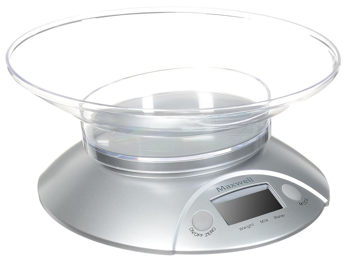 Maxwell MW-1451, Silver весы кухонныеMW-1451 SilverВам необходимо быстро отмерить нужное количество ингредиентов для приготовления блюда? Воспользуйтесь стильными весами кухонными MAXWELL MW-1451 электронного типа. Весы очень компактны, поэтому не займут много пространства на вашей кухне. Весы прекрасно подходят, как для измерения массы твердых или сыпучих продуктов, так и для измерения объема жидкостей, что особенно удобно. Максимальная масса для взвешивания составляет 5 кг, а при перегрузке загорится специальный индикатор на панели управления устройством. Весы оснащены довольно крупным жидкокристаллическим дисплеем, где с точностью до мг отражается масса взвешиваемых продуктов.