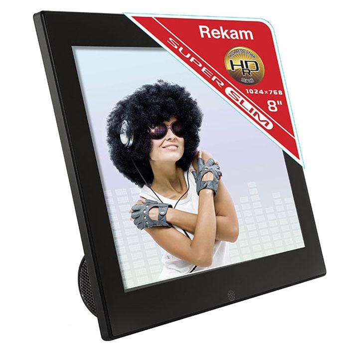 Rekam DejaView FM87S цифровая фоторамка2101000548Цифровая фоторамка Rekam DejaView FM87S - стильный настольный девайс с интересным дизайном. Благодаря встроенному FM-радио фоторамка может выполнять функцию радиоприемника, что отлично сочетается с такими функциями фоторамки как слайд-шоу, часы, календарь, будильник. В рамке реализован весь набор опций, характерный для подобных устройств: слайд-шоу с эффектами перехода, увеличение и поворот фотографий, просмотр фотоархива в виде пиктограмм. Мультимедийная фоторамка Rekam FM85S позволяет прослушивать музыку, в том числе в фоновом режиме. Благодаря поддержке распространенных видео форматов, рамку можно использовать как видеопроигрыватель. Управлять рамкой можно при помощи входящего в комплект пульта. Разъемы для подключения питания, антенны и съемных носителей – USB mini и 2.0, SD/SDHC/MMC - расположены на задней стороне подставки. Режимы просмотра: полный экран, слайд-шоу, пиктограммы Операции: поворот, масштабирование ...