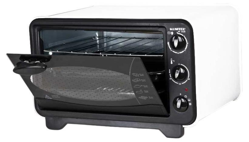 Kumtel KF 3125 D, Black жарочный шкаф - Kumtel3125F KG OB RU 05• Наличие 3-х уровней для противня и гриля; • Наличие эмалированной внутренней полости; • Наличие эмалированного противня; • Наличие никелированного гриля; • Возможность открывать дверку: - на 45 градусов - на 90 градусов; • Возможность регулирования температуры нагрева; • Наличие биметаллического термостата от 40 до 280 градусов; • Возможность регулирования нагревательного элемента; • Наличие таймера.