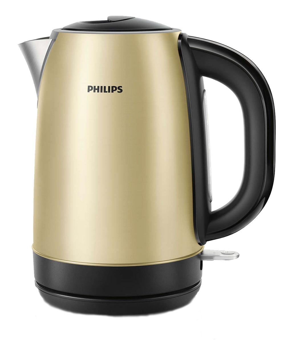 Philips HD 9325/50 электрочайникHD9325/50Стильный электрический чайник Philips HD 9325/50 цвета шампань с корпусом из нержавеющей стали и регулятором разработан в Великобритании. Прибор безопасен в использовании и отличается долгим сроком службы. Встроенный нагревательный элемент из нержавеющей стали обеспечивает быстрое кипячение и простую чистку. Съемный фильтр от накипи для чистой воды и чистого чайника. Наполнить чайник можно через носик или открыв крышку. Широко открывающаяся крышка на пружине для удобного наполнения и очистки исключает контакт с паром. Шнур оборачивается вокруг основания, что позволяет легко разместить чайник на кухне. Элегантная подсветка кнопки включения/выключения уведомляет о процессе нагрева воды. Беспроводная подставка с поворотом на 360° для удобства использования. Комплексная система безопасности для предотвращения короткого замыкания и выкипания воды. Функция автовыключения активируется, когда процесс завершается или прибор снимается с основания.