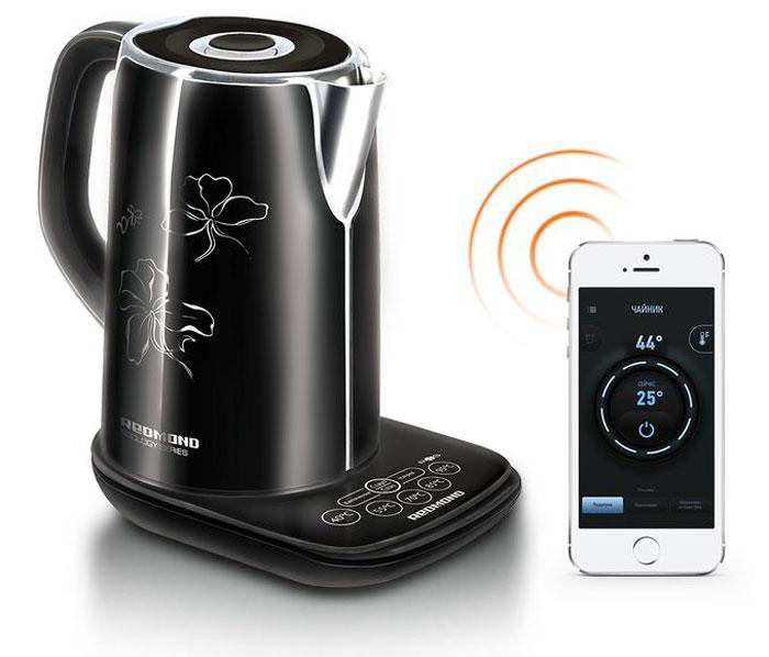 Redmond SkyKettle RK-M170S электрический чайникRK-M170SЭлектрический чайник Redmond SkyKettle RK-M170S - новейшая флагманская модель, образец умной техники, управление которым осуществляется дистанционно с помощью инновационной технологии Ready for Sky. Ошеломительный современный дизайн вкупе с впечатляющими характеристиками и продуманными деталями - настоящая чёрная жемчужина на кухне. Благодаря технологии Ready for Sky теперь вы можете управлять работой прибора дистанционно с помощью мобильного телефона или планшета, используя встроенный в чайник модуль Bluetooth v4.0. SkyKettle M170S поддерживает выбранную температуру до 12 часов, а 5 режимов позволяют подобрать идеальную температуру для заварки любимого сорта чая и приготовления детского питания (40°C, 55°C, 70°C, 85°C, 95°C, 100°C). Тройная защита, термодатчик и особое пластиковое покрытие стального корпуса являются дополнительными преимуществами высокотехнологичной модели. Вы сможете согреть воду для утреннего кофе или чая, оставаясь в постели, всего одним касанием к...