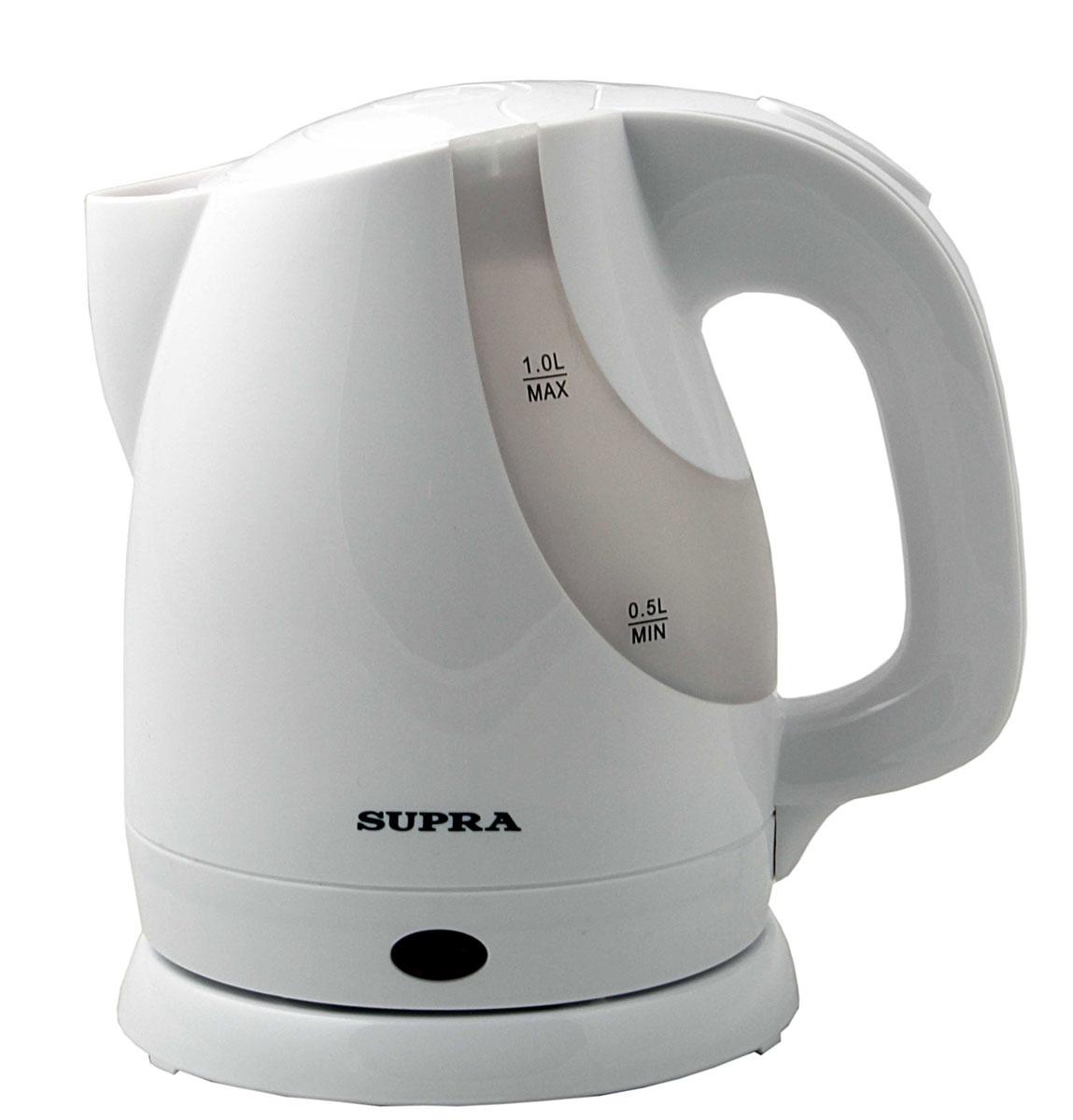 Supra KES-1021 электрочайникKES-1021Электрический чайник Supra KES-1021 - это стильная модель объёмом 1 литр. Лёгкий и компактный, он не займёт много места в дорожной сумке или чемодане, и у вас под рукой всегда будет кипяток. Прочный пластик, из которого изготовлен прибор, выдержит случайные удары и падения. С помощью большой мощности 1300 Вт чайник вскипятит воду в течение 3-х минут. Тонкая металлическая пластина из нержавеющей стали скрывает нагревательный элемент электроприбора и защищает его от наседания накипи, а также даёт возможность вскипятить небольшое количество воды. Фильтр, расположенный в носике чайника, предотвратит попадание накипи в чашку и не испортит вкус кофе или чая. Угол поворота прибора на подставке составляет 360 градусов, что предоставляет дополнительное удобство. Удобная форма носика позволяет наполнить чашку кипятком, не пролив ни одной капли. Наличие двухстороннего индикатора уровня в чайнике Supra KES1021 поможет визуально определить количество налитой воды в чайнике, не открывая...