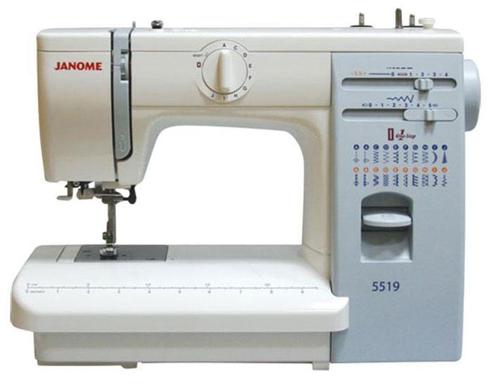 Janome 5519 швейная машина5519Бытовая настольная электромеханическая швейная машина Janome 5519 с вертикальным расположением челнока качающегося типа - это мощный, несмотря на свои относительно небольшие размеры, швейный агрегат, способный справиться с тяжелыми и сверхтяжелыми тканями ничуть не хуже промышленной машины. Данная модель имеет металлическую станину, что значительно увеличивает вес машины, а также несколько большие размеры рабочего стола, оснащенного встроенной в корпус мерной линейкой. Принято считать, что швейные машины, заточенные под работу с тяжелыми и сверхтяжелыми тканями, не способны так же хорошо шить тонкие ткани, но это не так. Если установить на машину Janome 5519 специальную трикотажную лапку и верхний подающий транспортер, грамотно подобрать иглы и точно выставить натяжение нити, тщательно отрегулировав плотность стежка, то у вас не возникнет никаких затруднением с шитьем крепдешины и шелка, трикотажа и ткани типа стрейч. А с роликовой лапкой вы сможете сшить себе не только...