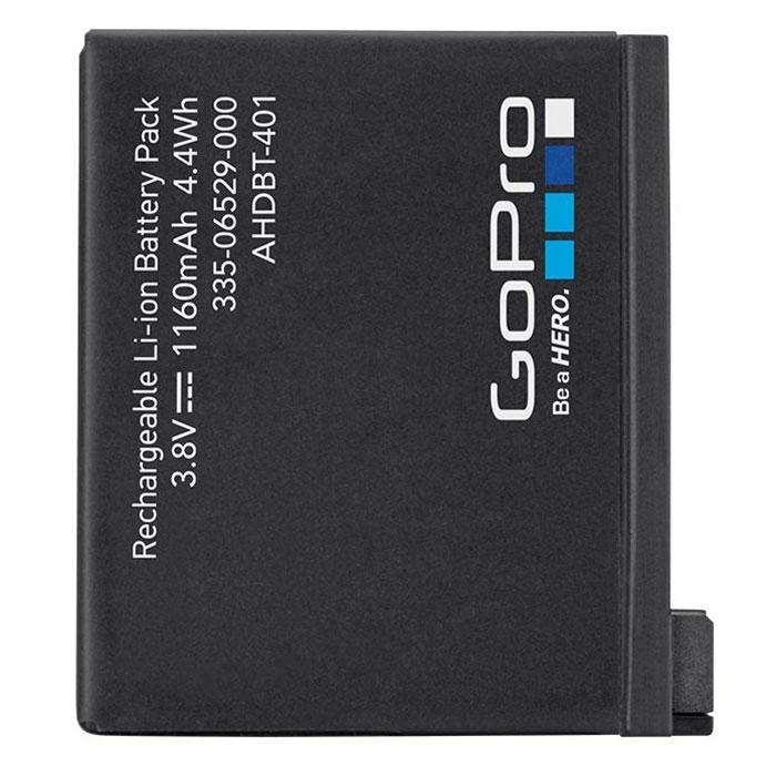 GoPro Rechargable Battery для Hero 4, Black аккумуляторAHDBT-401Литий-ионный аккумулятор GoPro Rechargable Battery емкостью 1160 мАч предназначен для использования в качестве запасной или сменной батареи для новых камер HERO4 Black или HERO4 Silver. Теперь вы можете снимать еще дольше вместе с камерами 4-го поколения, получая удивительные фото и видеокадры невероятного качества. С литий-ионным аккумулятором вам не придется прерывать съемочный процесс в самый неожиданный момент. Не дайте застигнуть себя врасплох. Будьте всегда готовы к работе вместе с высококачественной батареей нового уровня!