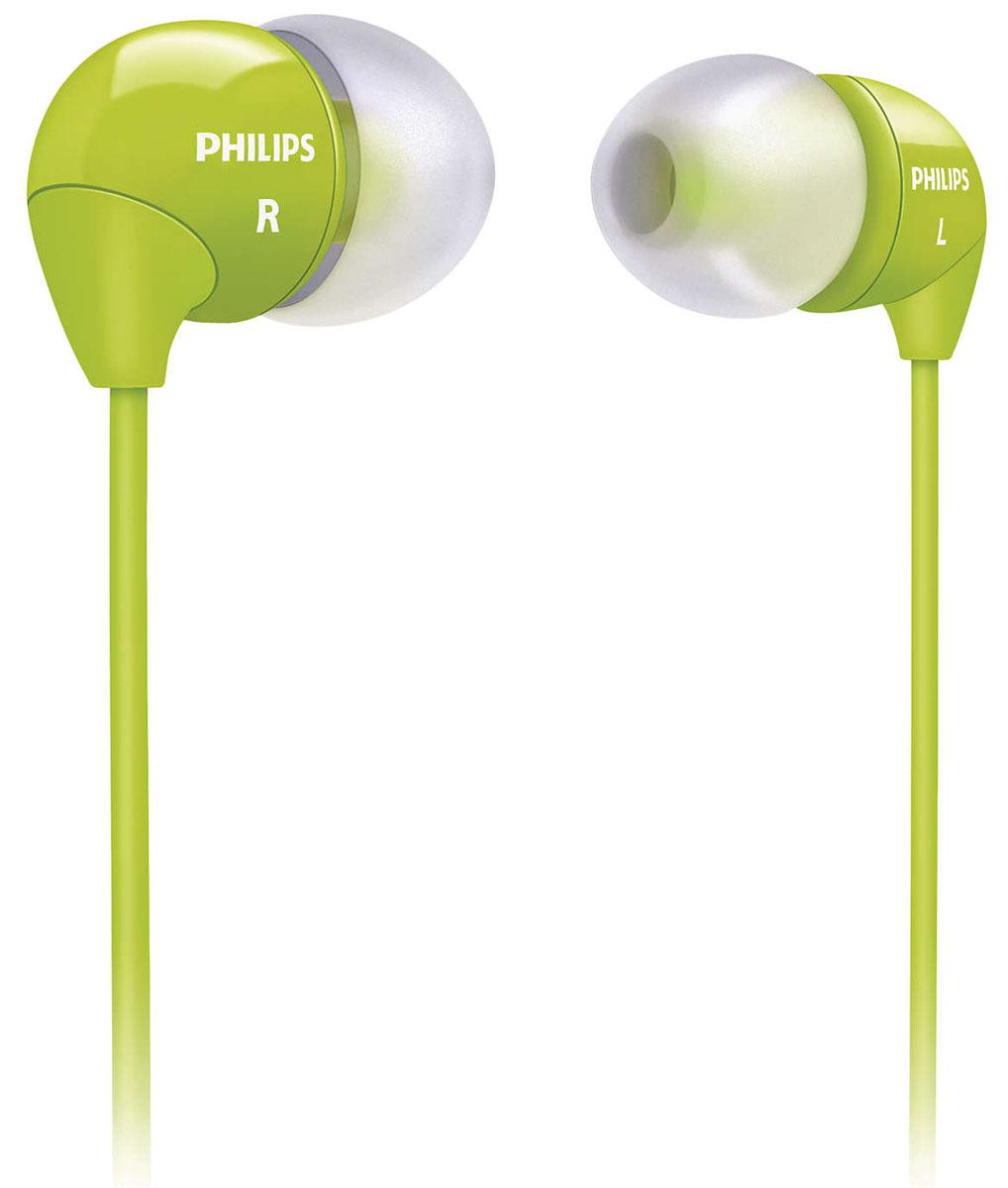 Philips SHE3590GN/10SHE3590GN/10Маленькие громкие динамики наушников-вкладышей Philips SHE3590 обеспечивают плотное прилегание и чистый звук с мощными басами. Идеальны для наслаждения любимой музыкой. В комплект входит 3 резиновых накладки разного размера, и вы гарантированно подберете пару, которая идеально подходит к вашим ушам. Крохотные излучатели обеспечивают плотность прилегания и полностью заполняют ушную раковину, что заглушает внешние источники звука и увеличивает впечатления от прослушивания. Мягкий резиновый сгиб между наушником и кабелем защищает соединение от разрыва при постоянном сгибании и продлевает срок службы.