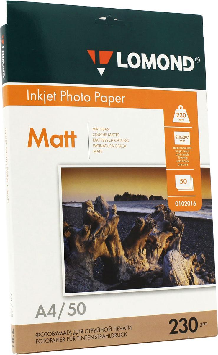 Lomond 230/A4/50л, бумага матовая односторонняя, 01020160102016Матовая односторонняя фотобумага высокой плотности Lomond для печати фотореалистических изображений с разрешением до 2880 dpi на принтерах, использующих водорастворимые и пигментные чернила