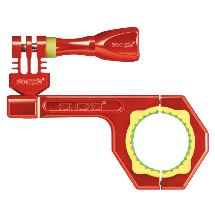 iSHOXS Bullbar, Red крепление для экшн-камеры на трубу 30-34 ммIMP1402Профессиональное крепление iSHOXS Bullbar предназначено для установки экшн камер GoPro, Rollei, Isaw или iSHOXS Actioncams на руль, мачту, дугу или любую другую трубку диаметром от 30 до 34 миллиметров. При помощи дополнительных аксессуаров с 1/4 дюймовой винтовой резьбой крепление может использоваться для установки навигационных устройств и смартфонов. Конструкция крепления для экшн камер iSHOXS Bullbar разработана специально для использования в экстремальных условиях. Лёгкий и прочный корпус изготовлен из высокотехнологичного сплава Алюминий 6061 (сочетания алюминия с магнием и кремнием), благодаря чему не подвержен воздействиям агрессивной среды. Прижимная часть крепления представляет собой запатентованный вкладыш специальной конструкции 2К, который надёжно и без проскальзывания крепится на круглой или овальной трубе, обеспечивая идеальное сцепление, и эффективно поглощает любые удары и вибрации. Крепление для экшн камер iSHOXS Bullbar...