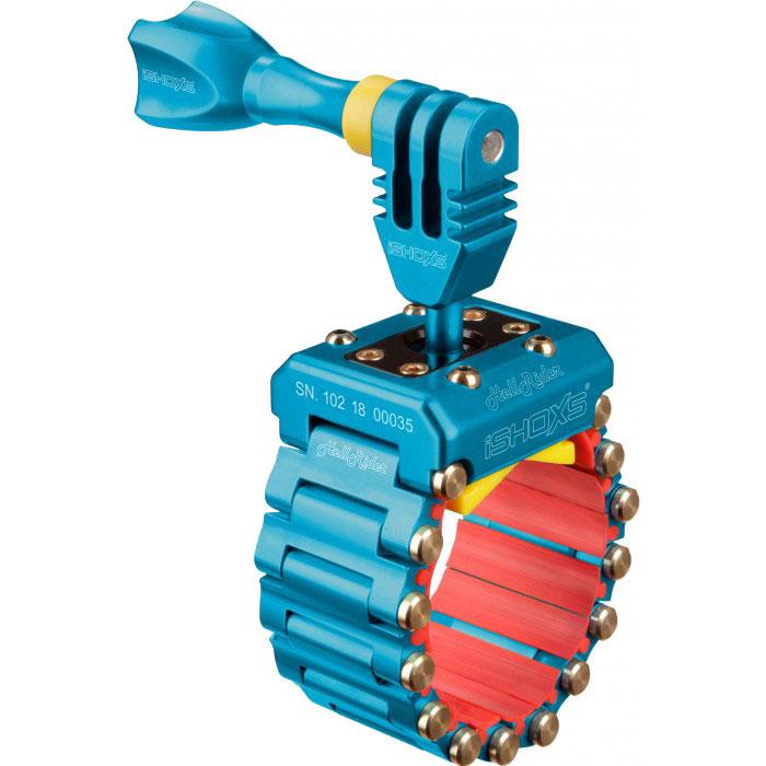 iSHOXS HellRider, Blue крепление для экшн-камеры на профили 20-42 ммIMP1504iSHOXS HellRider - это профессиональное крепление предназначенное специально для камер GoPro, Rollei, Isaw или iSHOXS Actioncams. При помощи дополнительных аксессуаров с 1/4 дюймовой винтовой резьбой крепление может быть использовано для установки навигационных устройств и смартфонов. Изготовленное из высокотехнологичного сплава, алюминий в сочетании с магнием и кремнием, iSHOXS HellRider не подвержен воздействиям агрессивной среды и является идеальным для использования в экстремальных условиях. iSHOXS HellRider собирается вручную на собственном производстве в Германии в городе Мёнхенгладбах. Крепление имеет международные патенты на отдельные элементы конструкции и является лауреатом одного из международных конкурсов дизайна. Крепление для экшн камер iSHOXS HellRider эффективно поглощает вибрацию и удары, обладает очень малым весом и компактными размерами, крепко и неподвижно держится на сцепляемой поверхности и является лучшим выбором для...