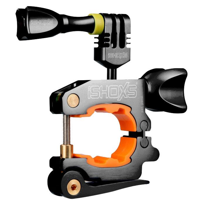 iSHOXS ProMount, Black крепление для экшн-камеры на профили 20-42 ммIMP1001Профессиональное крепление для экшн камер iSHOXS ProMount предназначено для установки экшн камер GoPro, Rollei, Isaw или iSHOXS Actioncams на руль, мачту, дугу или любую другую трубку с сечением диаметром от 20 до 42 миллиметров. Крепление для экшн камеры эффективно поглощает вибрацию и удары, обладает очень малым весом и компактными размерами, крепко и неподвижно держится на сцепляемой поверхности. Конструкция крепления iSHOXS ProMount разработана специально для использования в экстремальных условиях. Лёгкий и прочный корпус изготовлен из высокотехнологичного сплава Алюминий 6061 (сочетания алюминия с магнием и кремнием), благодаря чему не подвержен воздействиям агрессивной среды. Прижимная часть крепления для экшн камер представляет собой запатентованный вкладыш, который надёжно и без проскальзывания крепится на круглой или овальной трубе, обеспечивая идеальное сцепление, и эффективно поглощает любые удары и вибрации. Крепление iSHOXS...