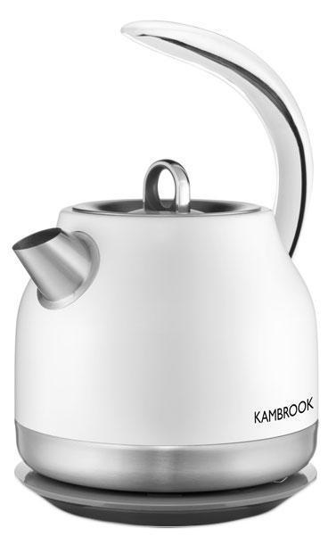 Kambrook ASK400 электрический чайник58823Чайник Kambrook ASK400 объемом 1,2 литра с металлическим корпусом – прочное и долговечное устройство. Основание с углом вращения 360 ° и отсеком для хранения шнура позволяет использовать прибор на кухне любых размеров. Устройство имеет нагревательный элемент закрытого типа – вода здесь нагревается быстро, а очистка чайника не вызывает хлопот.
