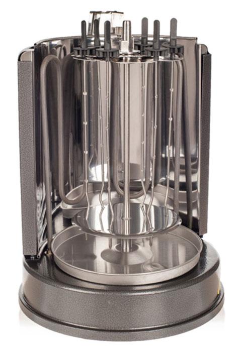 Kitfort KT-1404 электрошашлычницаKT-1404Шашлычница Kitfort КТ-1404 проста и удобна в использовании. Она работает от обычной розетки, не нужно ставить мангал и разжигать угли, никакой сажи, дыма и копоти! Всё что требуется, это замариновать мясо, нанизать его на шампуры и установить их вокруг нагревательного элемента. Благодаря вращению шампуров и тому, что нагревательный элемент расположен асимметрично, достигается определенный режим приготовления, когда продукт периодически нагревается и охлаждается. В результате в нем создается постоянный поток тепла и внутренних соков, пища получается здоровой, экологически чистой и готовится быстро. Такой режим приготовления позволяет приготовить мясо или шашлык точно так же, как и на обычном вертеле или мангале. Благодаря вертикальной конструкции электрошашлычница очень компактна и не занимает много места. Под шампурами расположена специальная тарелочка, куда стекает жир. После приготовления эту тарелочку можно снять и легко вымыть, слив жир. Шампуры оснащены ручками из...