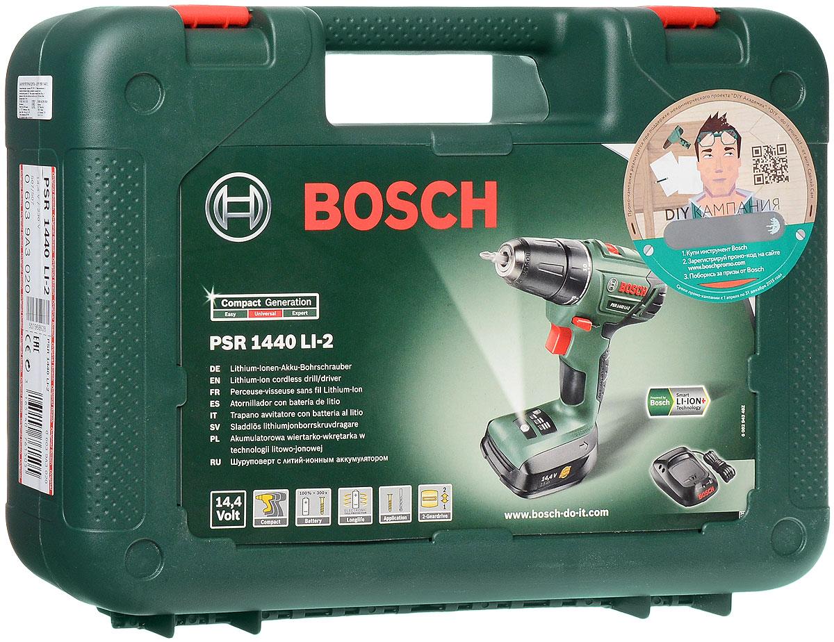 Дрель-шуруповерт аккумуляторная Bosch PSR 1440 LI-206039A3020Компактный, легкий и мощный беспроводной инструмент Bosch PSR 1440 LI-2 предназначен для заворачивания шурупов и сверления. Изделие имеет литий-ионную технологию: без самозаряда и эффекта памяти, постоянная готовность к работе. 20 ступеней крутящего момента, ступень сверления, 2 скорости.