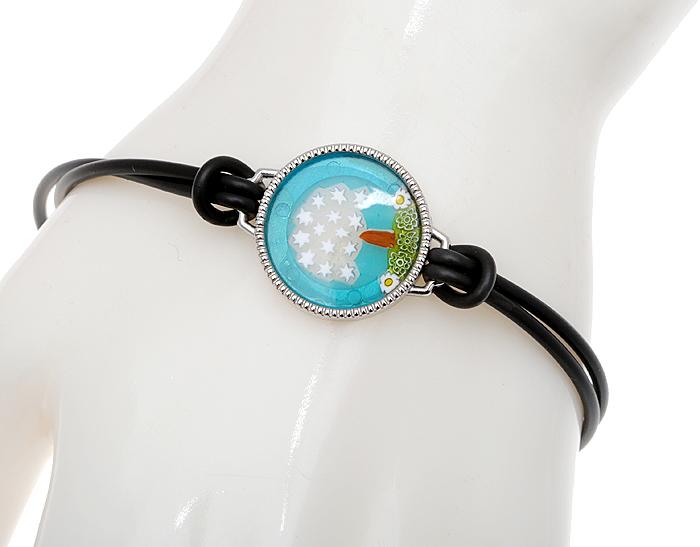 Комплект 'Дерево удачи': браслет и кольцо. Муранское стекло, шнурок из каучука, бижутерный сплав серебряного тона, ручная работа. Murano, Италия (Венеция)