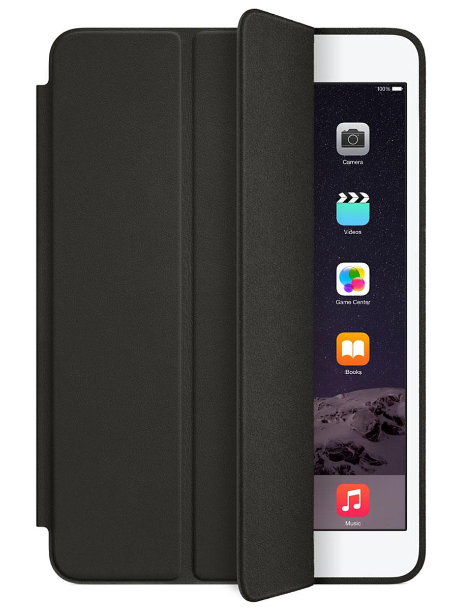 Apple Smart Case чехол для iPad mini, BlackMGN62ZM/AЧехол Apple Smart Case для iPad mini защищает его дисплей и заднюю сторону — при этом iPad mini остаётся таким же тонким и лёгким. Продуманная конструкция чехла позволяет сложить его и превратить в идеальную подставку для общения в FaceTime и просмотра фильмов. Откройте Smart Case, и iPad mini автоматически выйдет из режима сна. Закройте, и iPad mini моментально вернётся в режим сна. Чехол Smart Case изготовлен из великолепной анилиновой кожи и доступен в пяти изысканных цветах. Его мягкая подкладка из микрофибры того же цвета помогает поддерживать экран в чистоте.