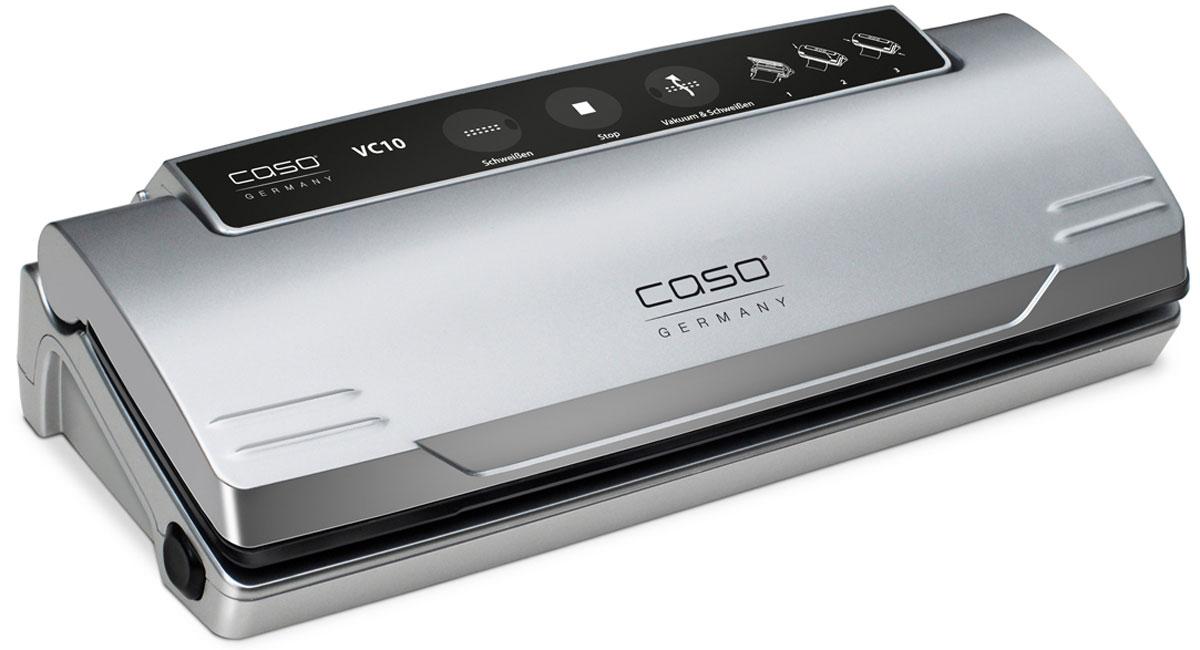 CASO VC 10 вакуумный упаковщикVC 10CASO VC 10 - вакуумный упаковщик для надежного хранения пищевых продуктов (как мяса и рыбы, так и овощей и фруктов) без потери их питательных свойств. Полностью автоматическая система вакуумирования обеспечивает оптимальную свежесть упакованных продуктов. Прибор оснащен электронным контролем температуры сварного шва. Имеется также кнопка остановки насоса для нежных продуктов. Подходит для пакетов шириной до 28 см.