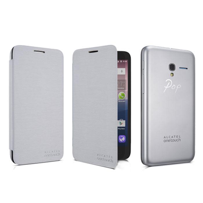 Alcatel чехол для OT-5025 Pop 3, Soft SilverFC5025Чехол-книжка Alcatel для OT-5025 Pop 3 с задней крышкой не увеличивает размеры аппарата и служит для надежной защиты смартфона от механических повреждений. Крепится вместо задней крышки смартфона.