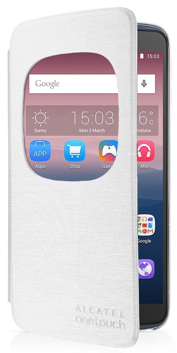 Alcatel чехол для OT-6045Y Idol 3, WhiteAF6045Чехол-книжка Alcatel для OT-6045Y Idol 3 не увеличивает размеры аппарата и служит для надежной защиты смартфона от механических повреждений. Чехол имеет все необходимые технологические вырезы, в то время как дисплей защищен обложкой.