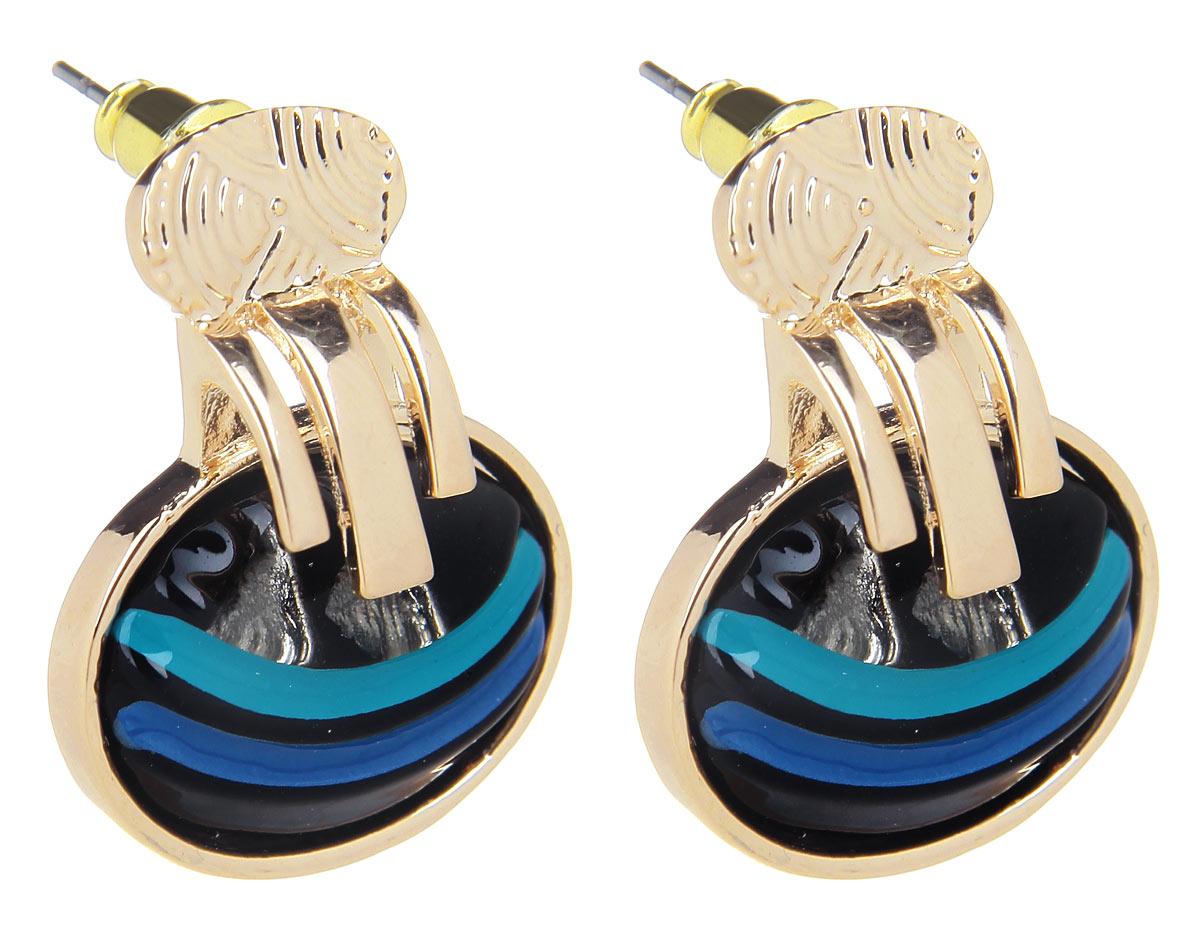 Серьги Fashion House, цвет: золотой, черный. FH32072FH32072Оригинальные серьги Fashion House, выполненные из металла с золотистым покрытием в виде овала, инкрустированной вставкой из камня с горизонтальными полосами бирюзового и фиолетового цветов. Серьги застегиваются на металлические заглушки. Изящные серьги придадут вашему образу изюминку, подчеркнут красоту и изящество вечернего платья или преобразят повседневный наряд. Такие серьги позволит вам с легкостью воплотить самую смелую фантазию и создать собственный, неповторимый образ.