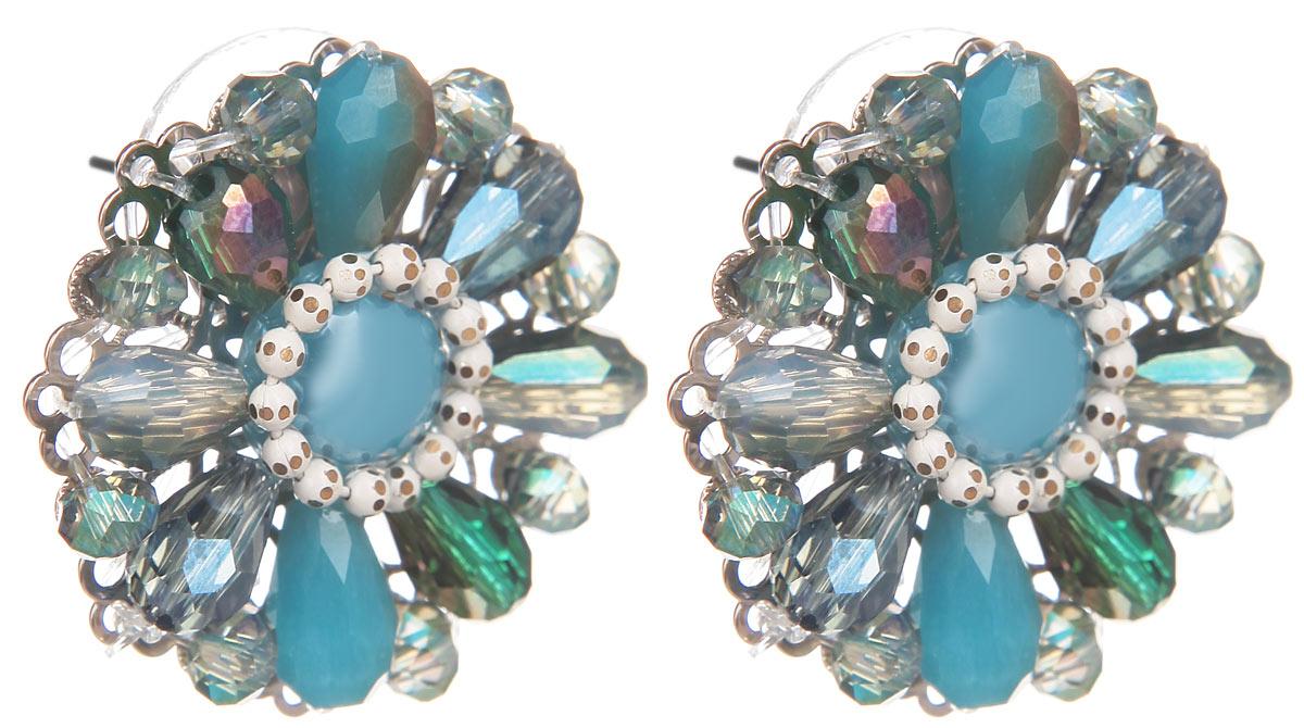 Серьги Fashion House, цвет: бирюзовый, серебристый, голубой. FH32048FH32048Оригинальные серьги Fashion House, выполненные из металла с серебристым покрытием в виде оригинального цветка, инкрустированной вставкой из пластика и бусин. Серьги застегиваются на стоплер. Изящные серьги придадут вашему образу изюминку, подчеркнут красоту и изящество вечернего платья или преобразят повседневный наряд. Такие серьги позволит вам с легкостью воплотить самую смелую фантазию и создать собственный, неповторимый образ.