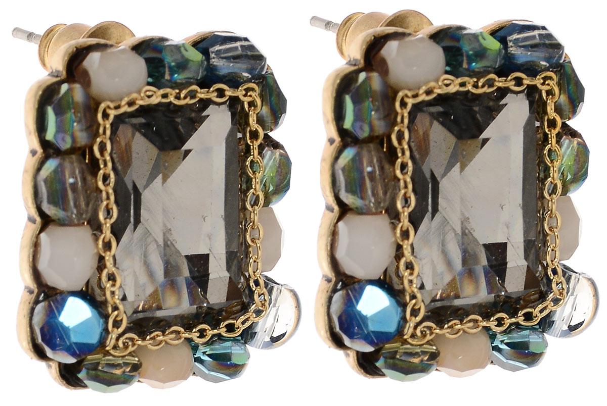 Серьги Fashion House, цвет: серый, золотой, синий. FH31905FH31905Оригинальные серьги Fashion House выполнены из ювелирного сплава и дополнены вставками с сверкающими кристаллами из стекла. Изделие оснащено практичным замком-гвоздиком, который надежно зафиксирует серьги с помощью металлического фиксатора. Изящные серьги придадут вашему образу изюминку, подчеркнут красоту и изящество вечернего платья или преобразят повседневный наряд.