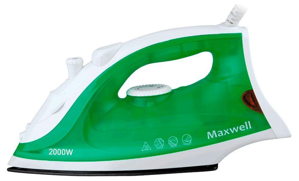 Maxwell MW-3054 утюгMW-30543054-MW(G) Утюг Maxwell Мощность 2000 Вт,подошва с антипригарным покрытием,паровой удар