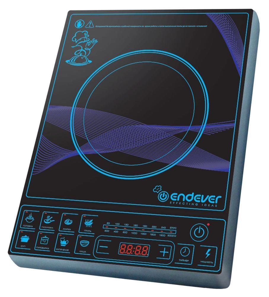 Endever IP-28 индукционная плитаIP-28Индукционная плитка Endever Skyline IP-28 - это настольная электрическая плитка с варочной панелью и индукционной конфоркой. Электрический ток, проходя через медную катушку, находящуюся под конфоркой, индуцирует высокочастотный вихревой ток, который моментально нагревает дно посуды, а с ним и пищу. Таким образом, нагревается не конфорка, а непосредственно сама посуда, находящаяся на ней. Преимущества: Экономичность. Индукционная плитка Endever Skyline IP-28 потребляет в несколько раз меньше электроэнергии, чем обычная электрическая, за счет того, что конфорка автоматически подстраивается под диаметр дна посуды и нагревает только необходимую площадь. Она экономит не только энергию, но и Ваше время. За счёт большой мощности (2000 Вт) быстро нагревается и постоянно поддерживает необходимую температуру, что значительно сокращает время приготовления пищи. Безопасность. В индукционной плитке нет открытого огня или раскаленной конфорки. Кроме...