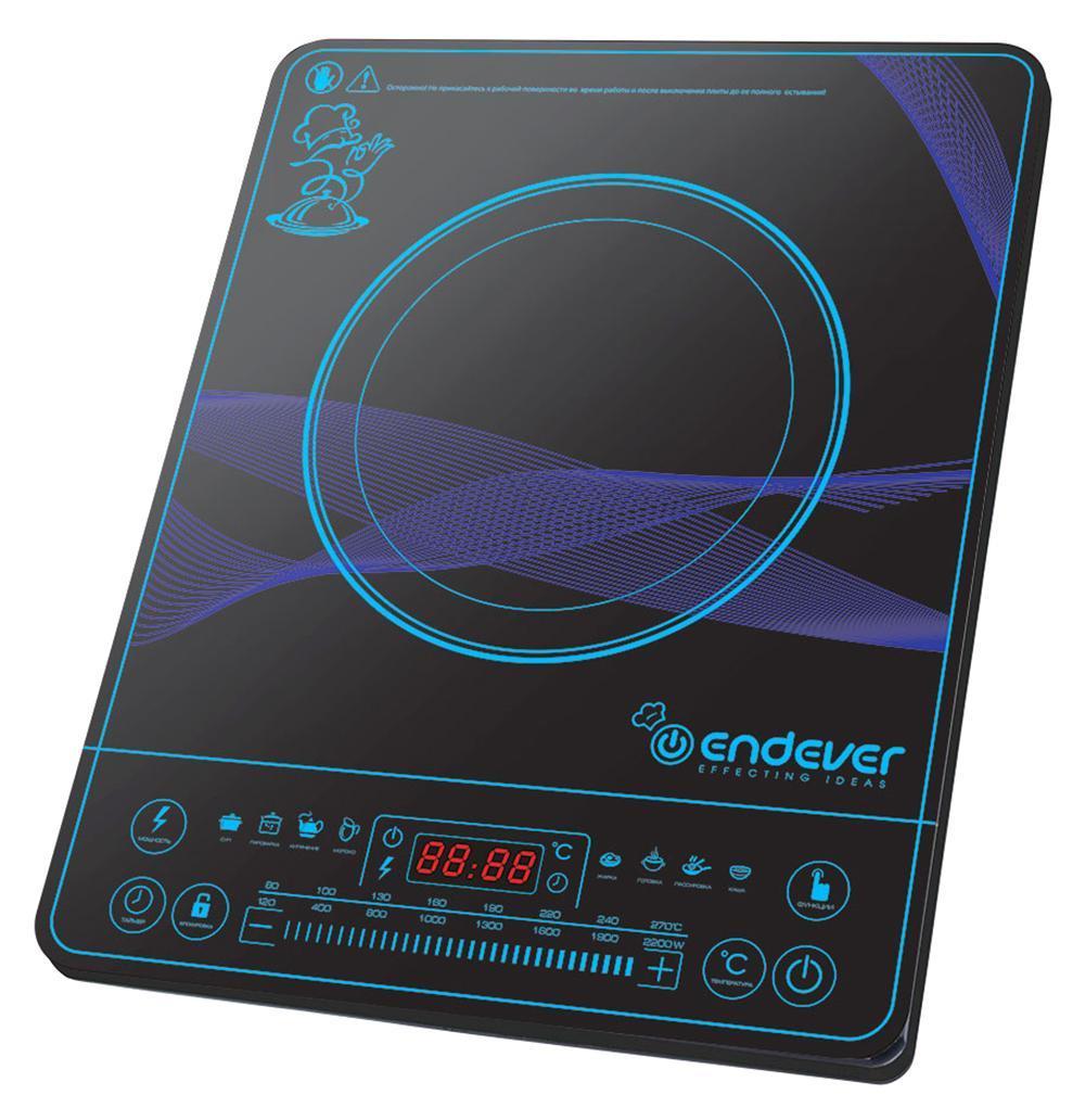 Endever IP-32 индукционная плитаIP-32Индукционная плитка Endever Skyline IP-32 - это настольная электрическая плитка с варочной панелью и индукционной конфоркой. Электрический ток, проходя через медную катушку, находящуюся под конфоркой, индуцирует высокочастотный вихревой ток, который моментально нагревает дно посуды, а с ним и пищу. Таким образом, нагревается не конфорка, а непосредственно сама посуда, находящаяся на ней. Преимущества: Экономичность. Индукционная плитка Endever Skyline IP-32 потребляет в несколько раз меньше электроэнергии, чем обычная электрическая, за счет того, что конфорка автоматически подстраивается под диаметр дна посуды и нагревает только необходимую площадь. Она экономит не только энергию, но и Ваше время. За счёт большой мощности (2200 Вт) быстро нагревается и постоянно поддерживает необходимую температуру, что значительно сокращает время приготовления пищи. Безопасность. В индукционной плитке нет открытого огня или раскаленной конфорки. Кроме того,...